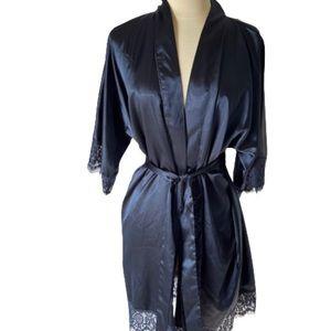 Navy blue lace mini satin robe kimono